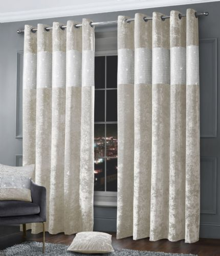 Stylish Diamante Crushed Velvet Modern Textured Ringtop Eyelet Pair Of Curtains Cream Colour